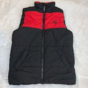 Chaps Boys Puffer Vest Size 6 Black Red